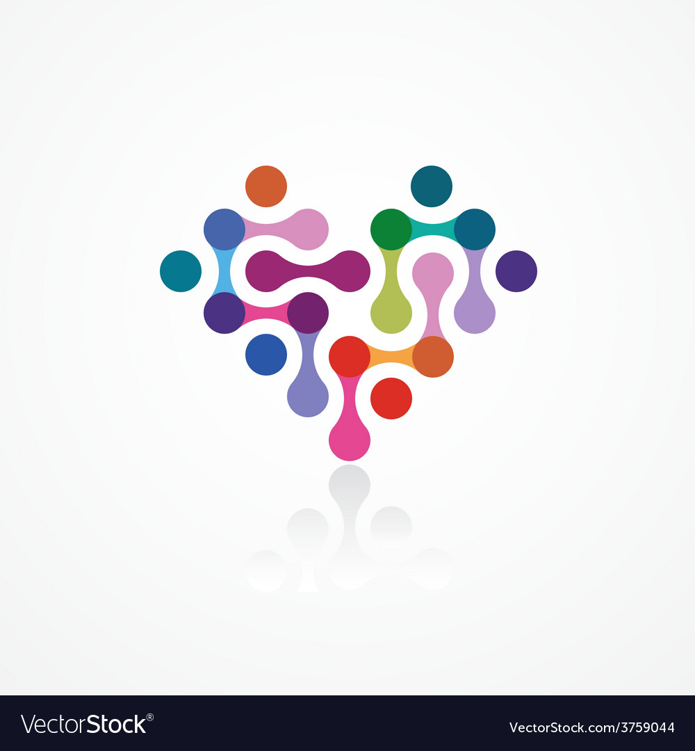 Heart from the color connected elements vector | Price: 1 Credit (USD $1)