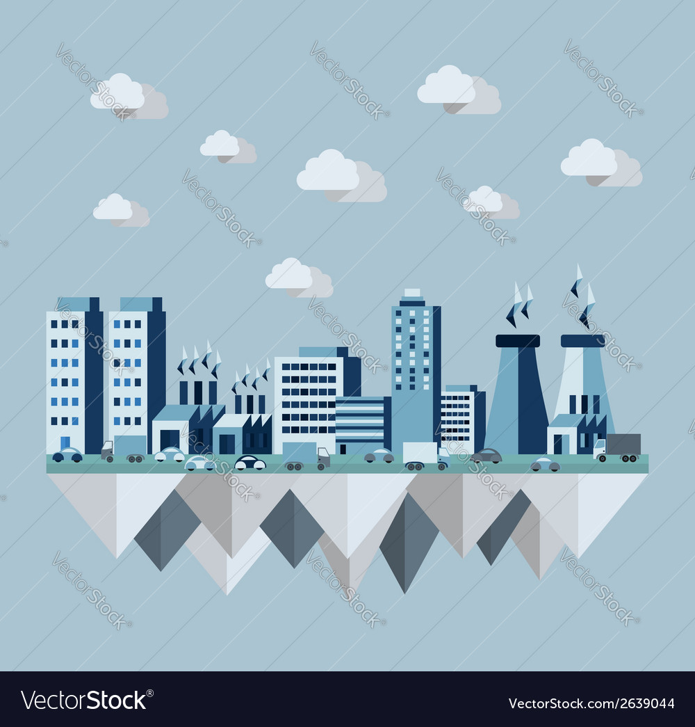 Pollution city concept in flat style design vector | Price: 1 Credit (USD $1)