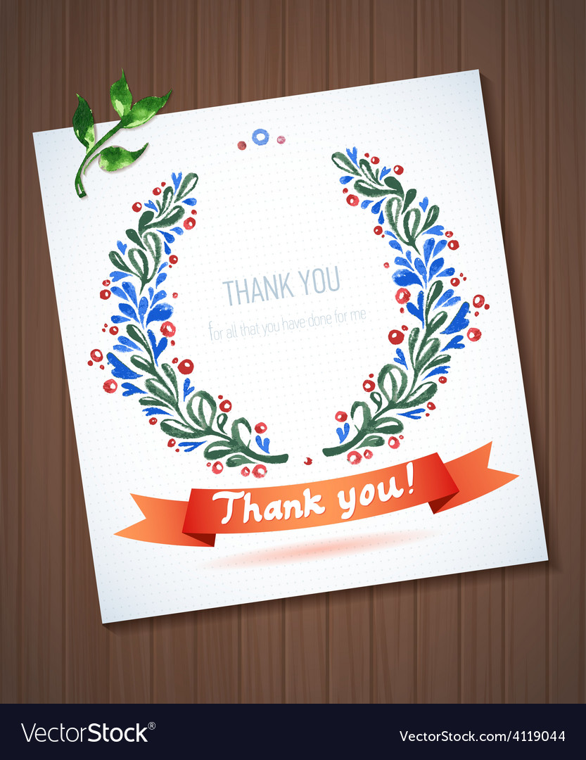 Thank you watercolor floral wreath with ribbon vector | Price: 1 Credit (USD $1)