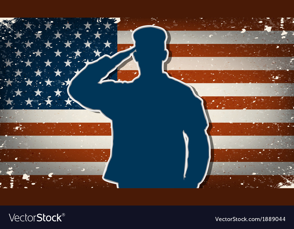 Us army soldier on grunge american flag background vector | Price: 1 Credit (USD $1)