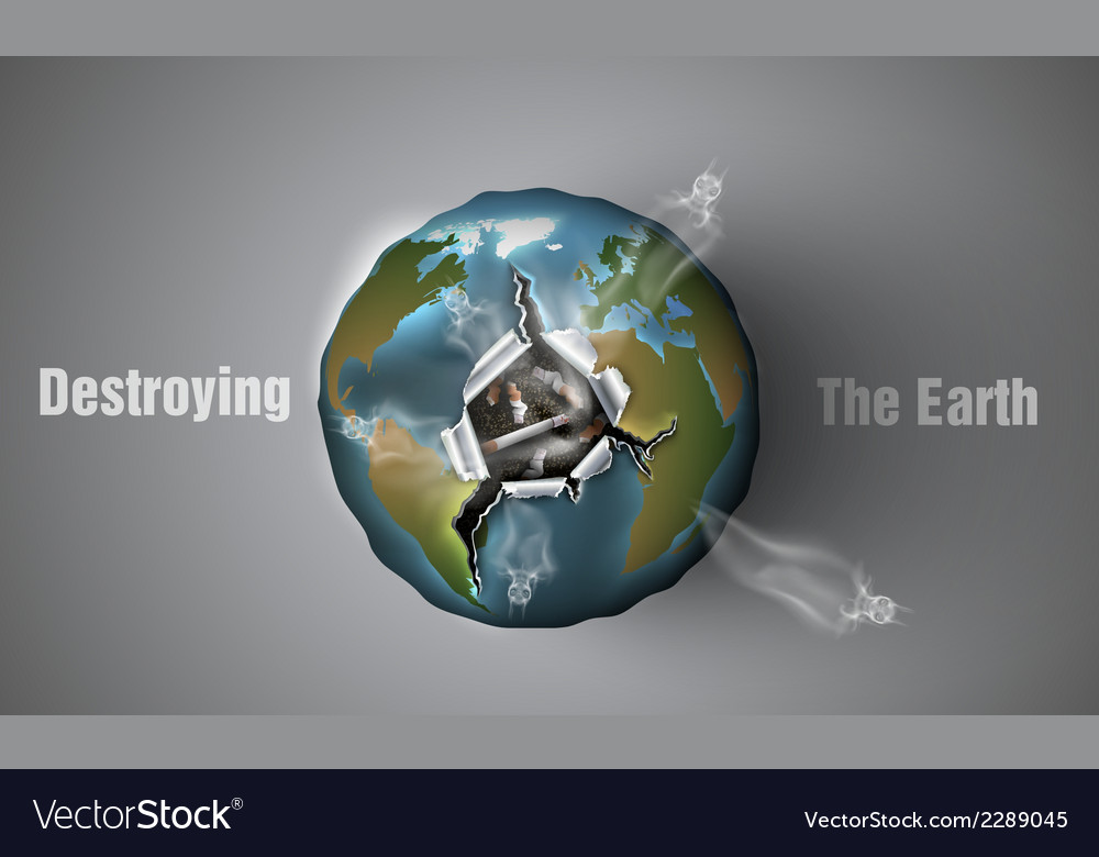 Destroying the earth vector | Price: 1 Credit (USD $1)