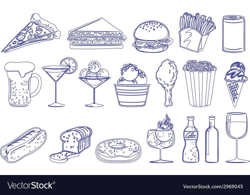 Drinks and edible foods vector | Price: 1 Credit (USD $1)
