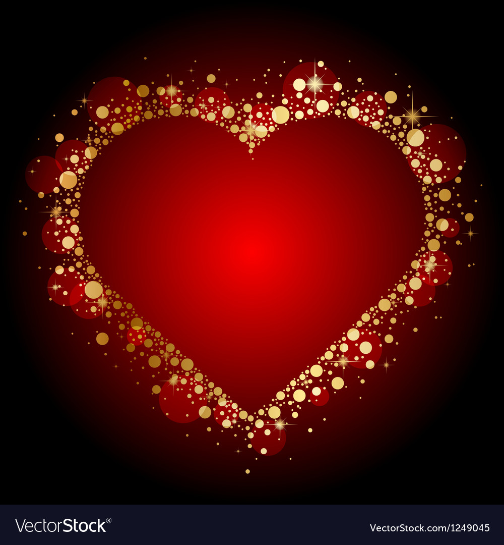 Gold shiny heart on red background vector | Price: 1 Credit (USD $1)