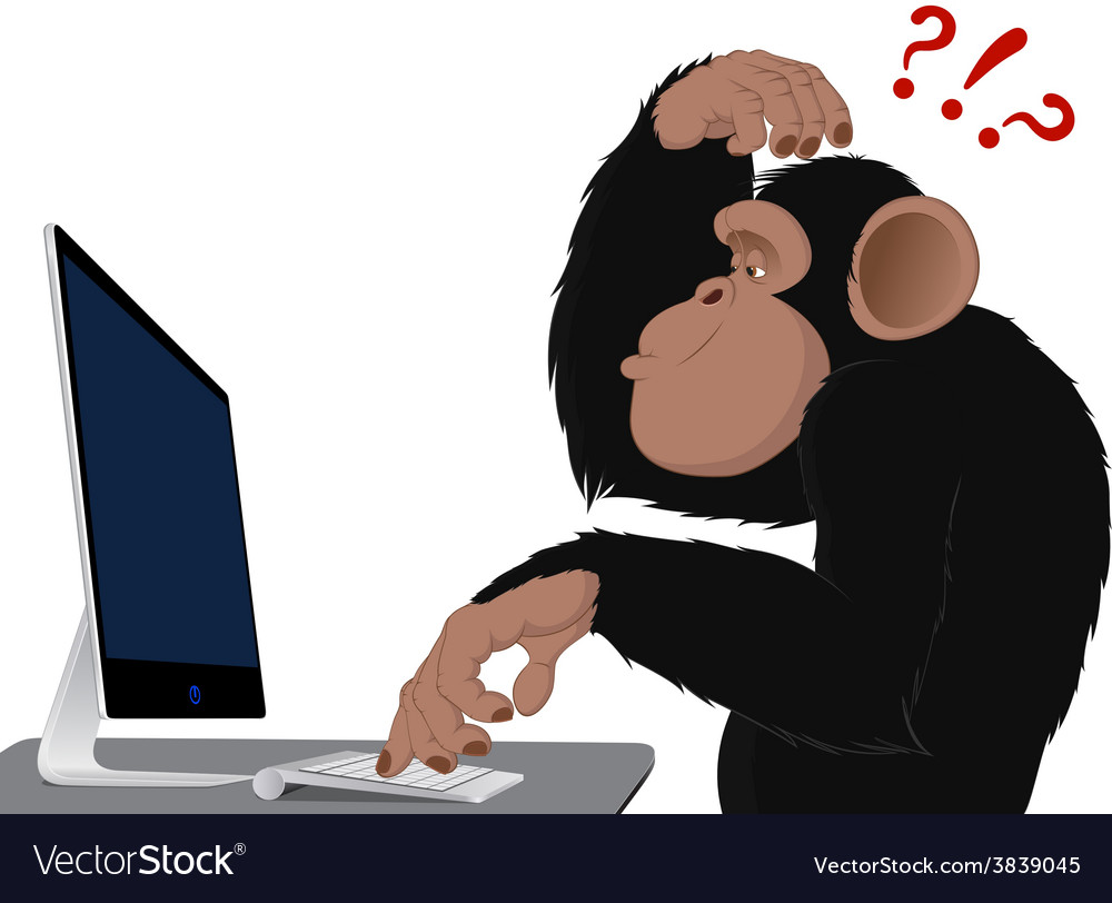 Monkey and computer vector | Price: 3 Credit (USD $3)
