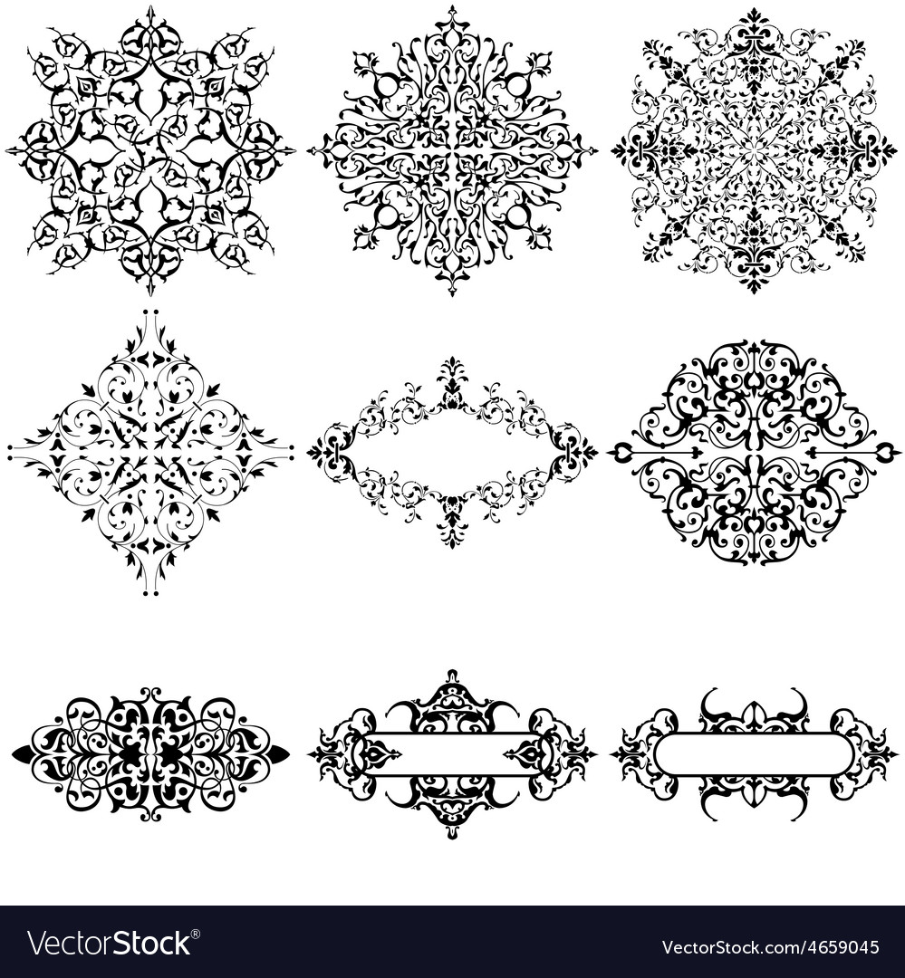 Set of 9 ornamental design elements vector | Price: 1 Credit (USD $1)