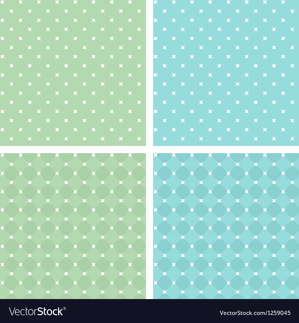 Set of seamless retro texture white green blue vector | Price: 1 Credit (USD $1)