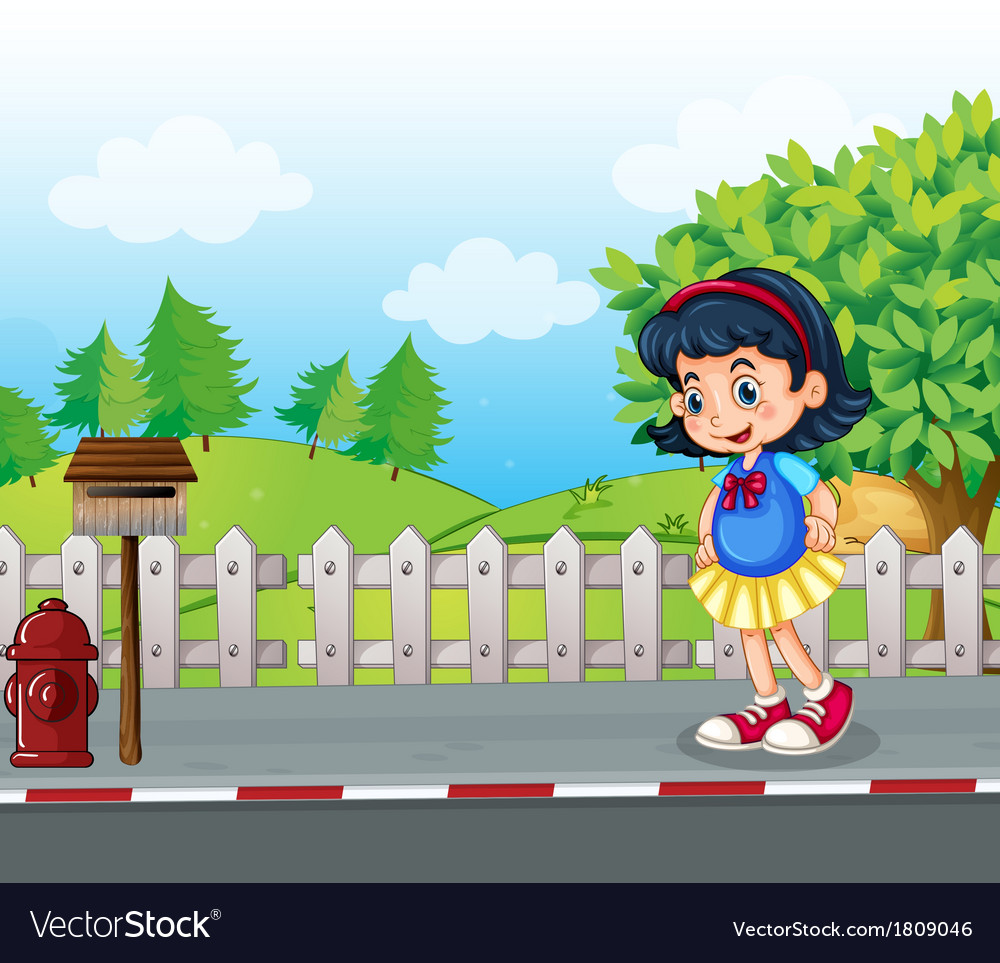A pupil at the street near the mailbox vector | Price: 1 Credit (USD $1)