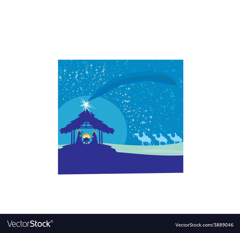 Biblical scene - birth of jesus in bethlehem vector | Price: 1 Credit (USD $1)