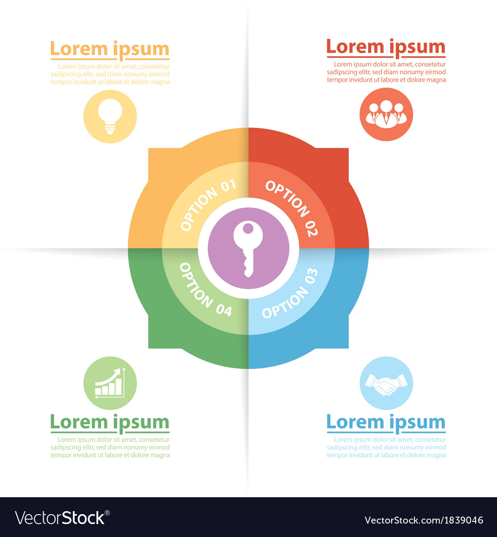 Circle infographics of key success factors vector | Price: 1 Credit (USD $1)