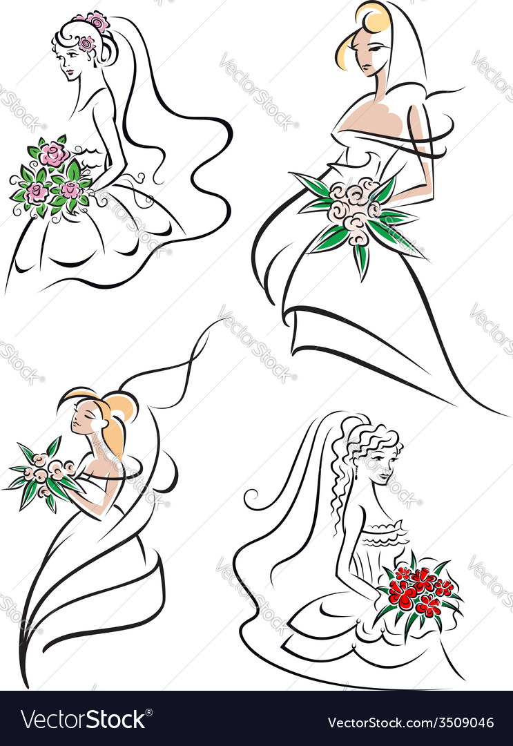 Graceful young bride icons set vector | Price: 1 Credit (USD $1)