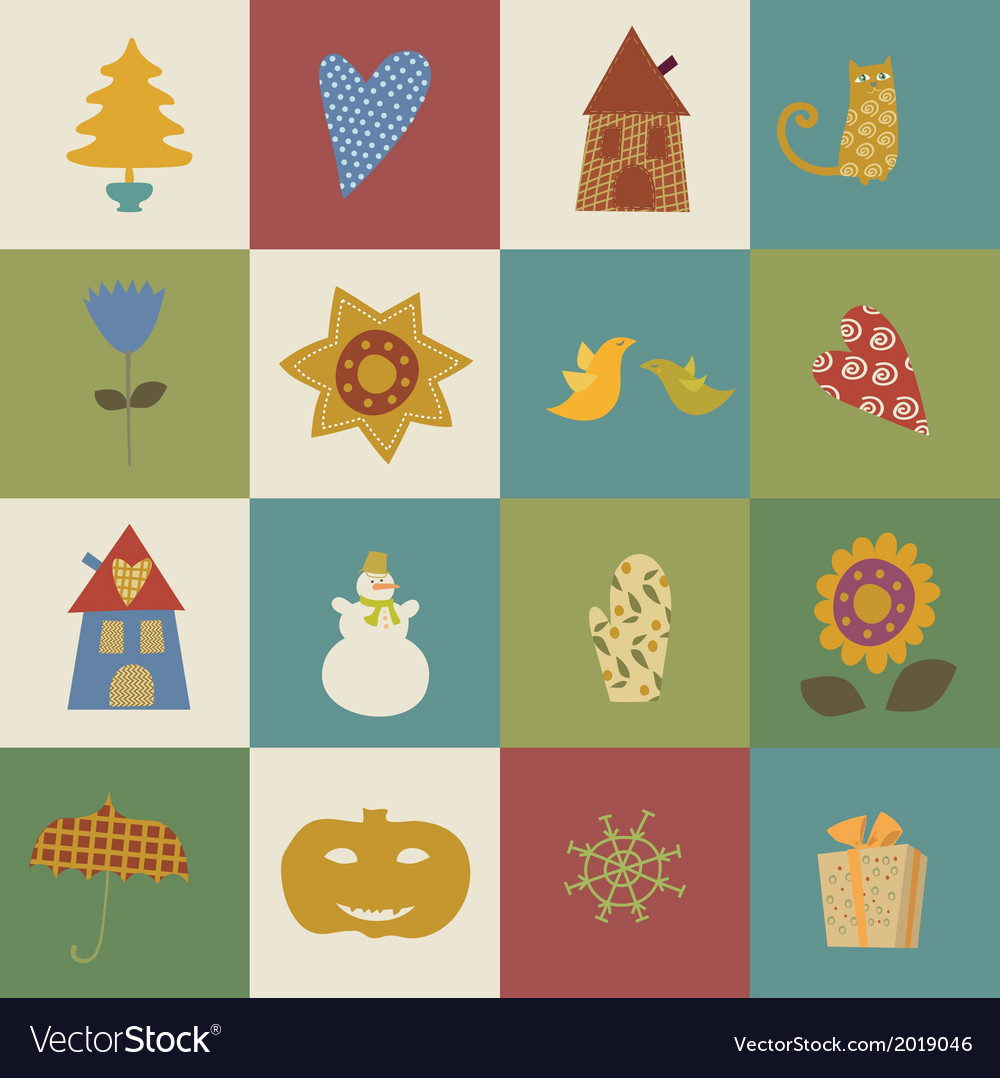 Greeting card happy new year christmas eve set vector | Price: 1 Credit (USD $1)