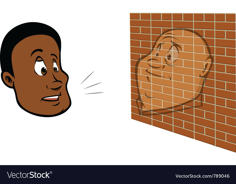 Guy talking brick wall vector | Price: 1 Credit (USD $1)