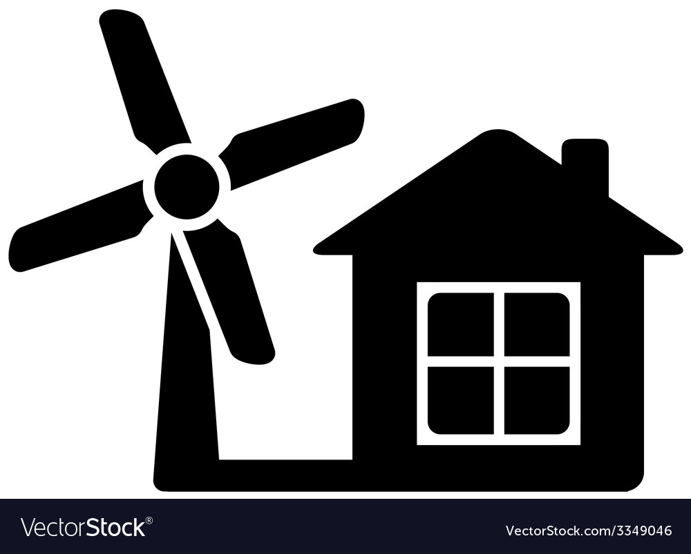 Icon with home and wind mill vector | Price: 1 Credit (USD $1)