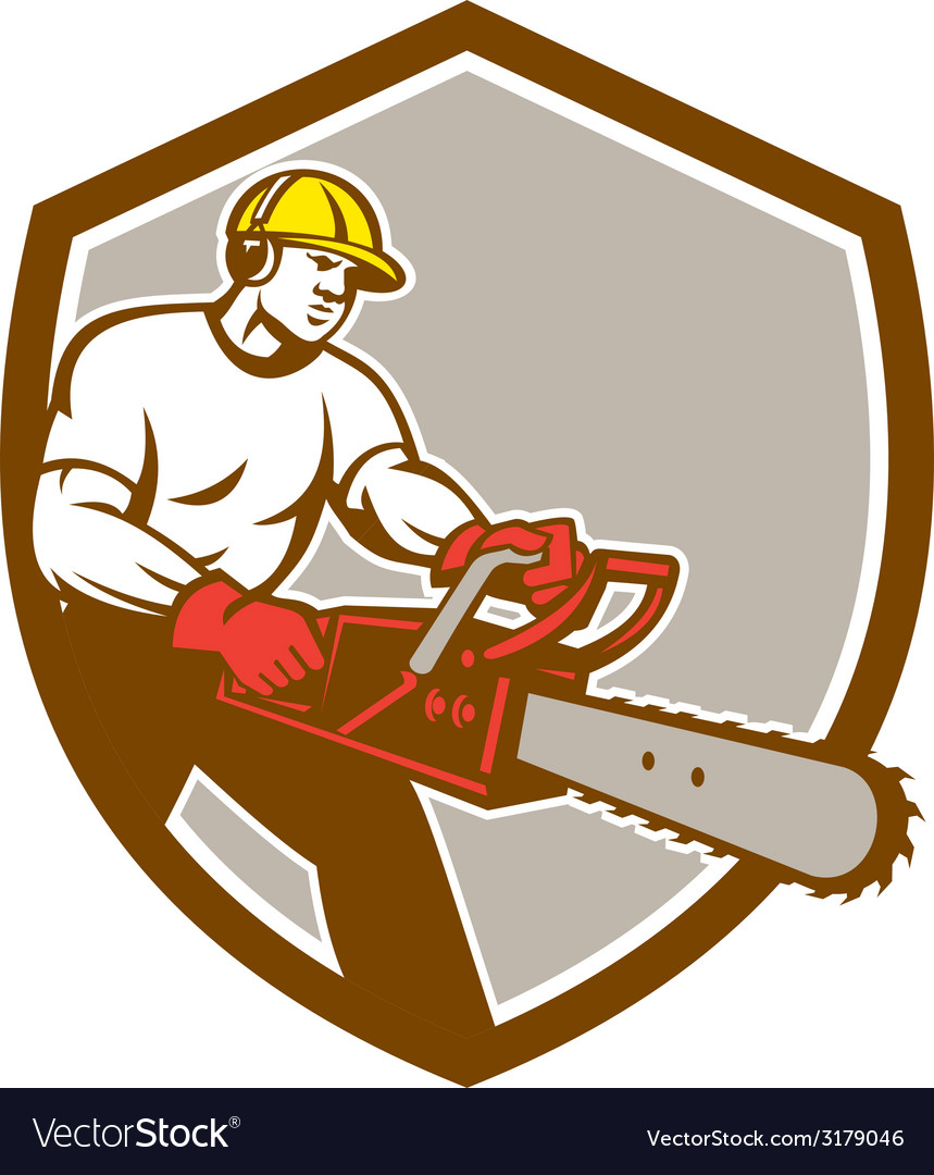 Lumberjack tree surgeon arborist chainsaw shield vector | Price: 1 Credit (USD $1)