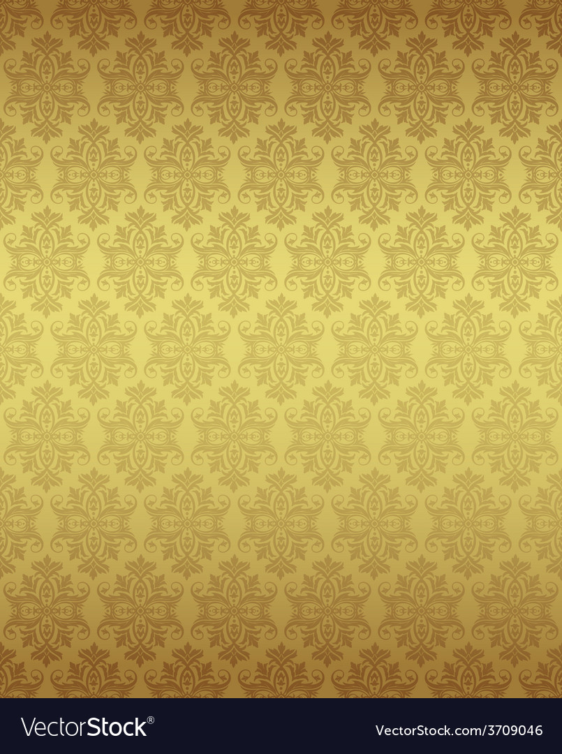 Luxury seamless golden floral wallpaper vector | Price: 1 Credit (USD $1)