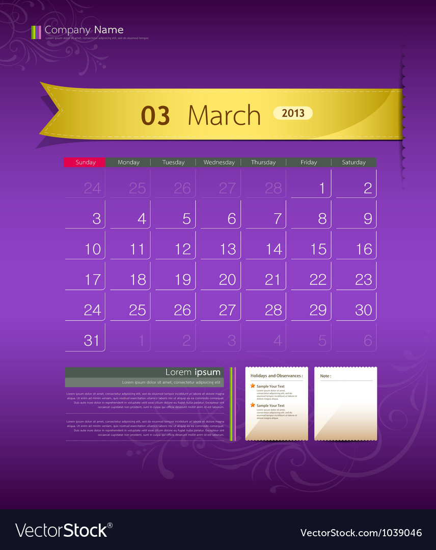 March 2013 calendar vector | Price: 1 Credit (USD $1)