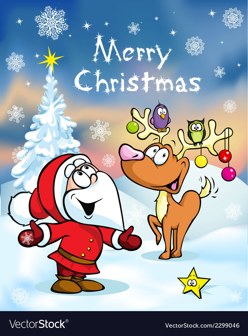 Merry christmas greeting card funny santa claus vector | Price: 1 Credit (USD $1)