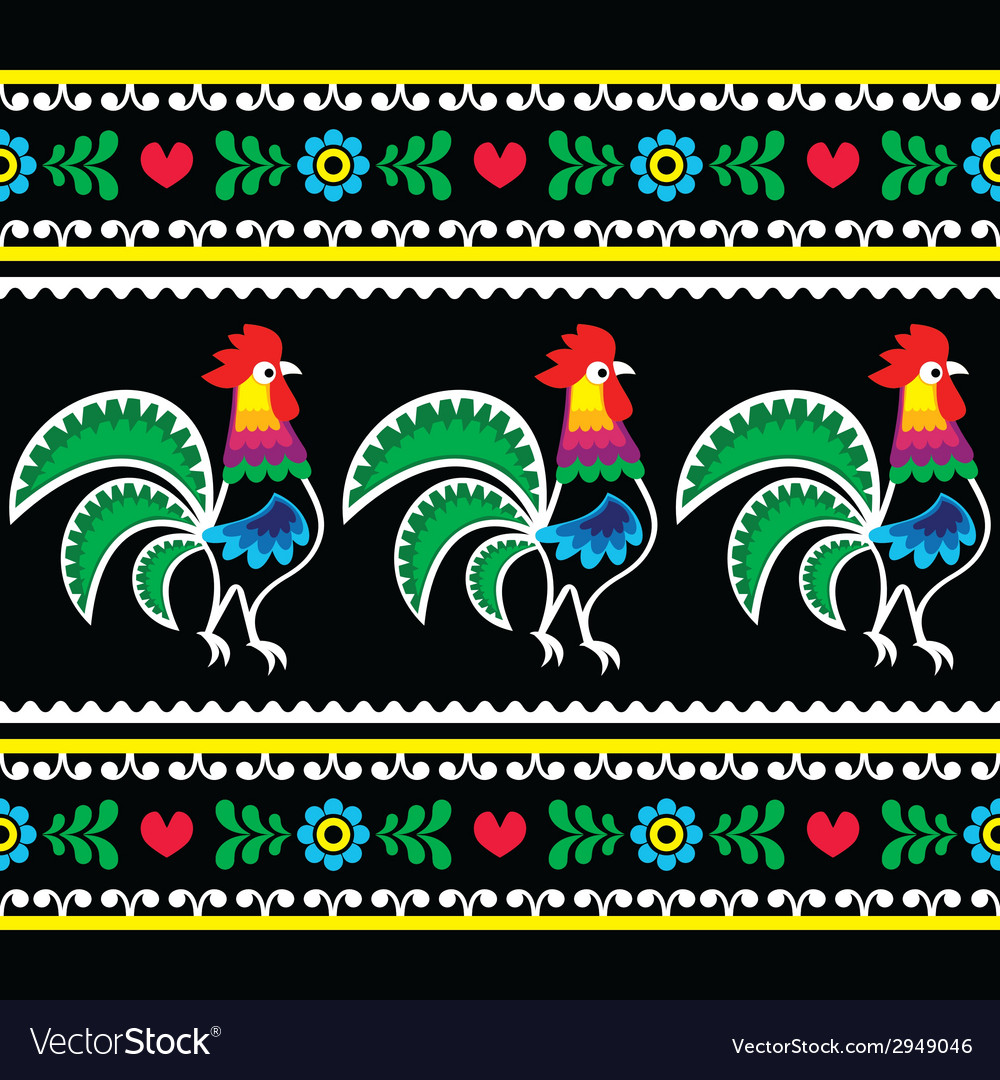Polish folk art pattern with roosters on black vector | Price: 1 Credit (USD $1)