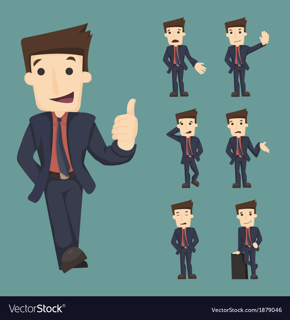 Set of businessman characters poses vector | Price: 1 Credit (USD $1)