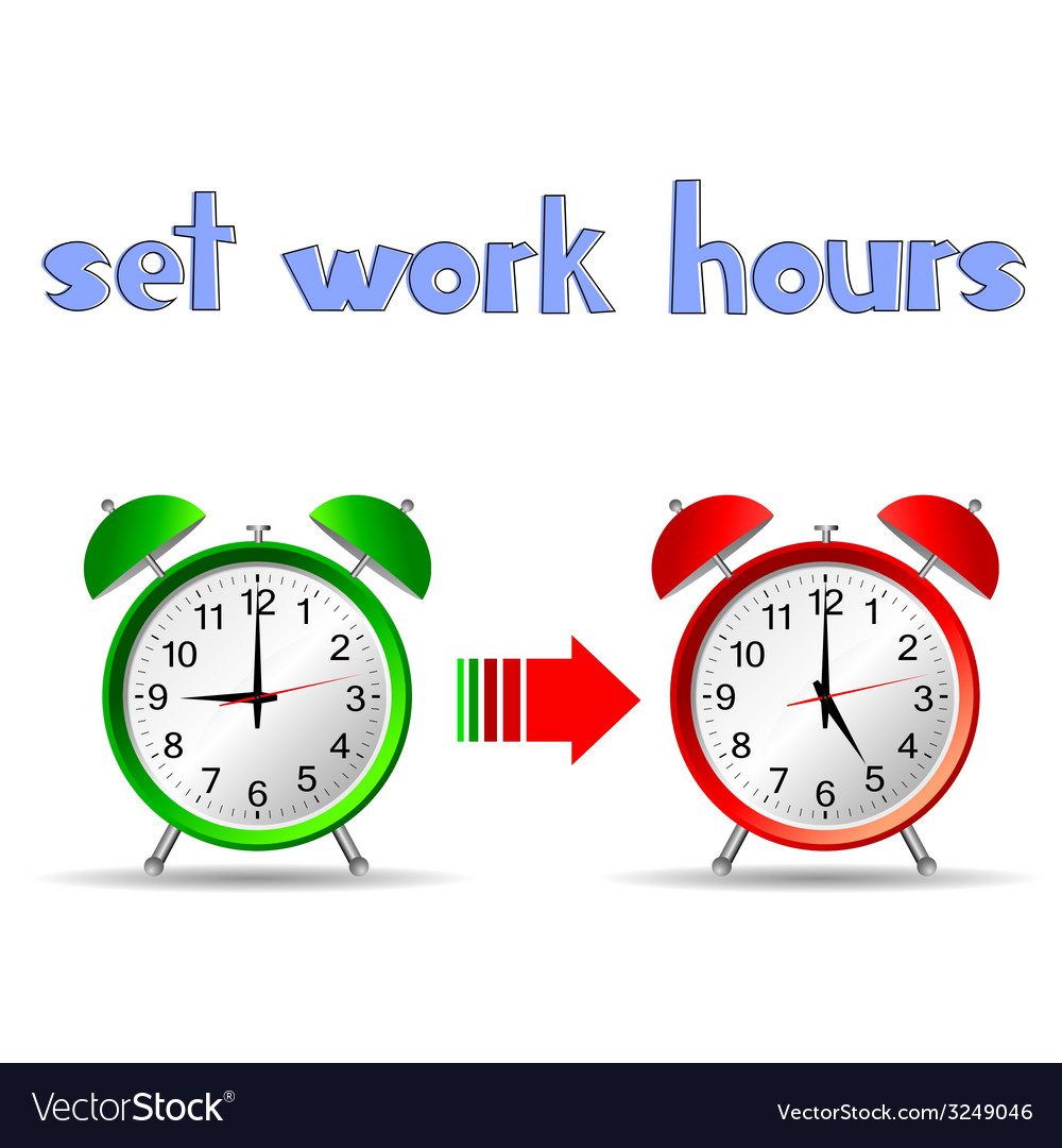 Set work hours with two clock vector | Price: 1 Credit (USD $1)