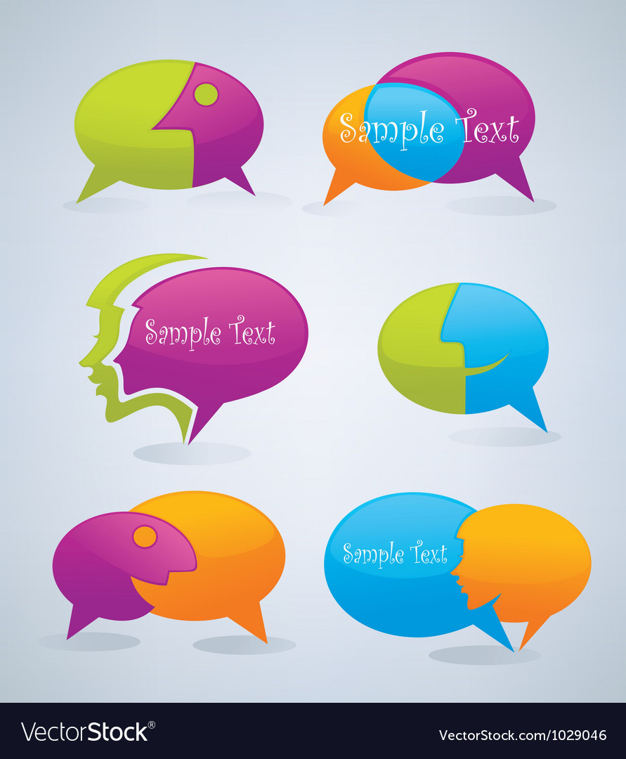 Speech bubbles look like a head and face vector | Price: 1 Credit (USD $1)