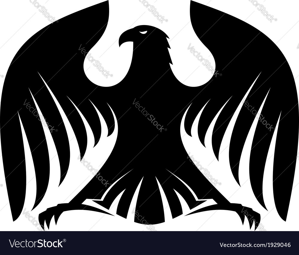 Stylized powerful black eagle silhouette vector | Price: 1 Credit (USD $1)