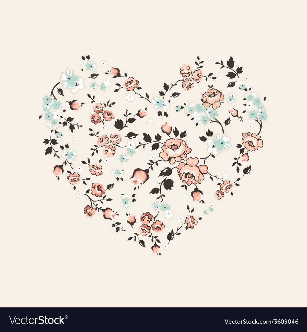 Vintage floral heart - for valentines day vector | Price: 1 Credit (USD $1)