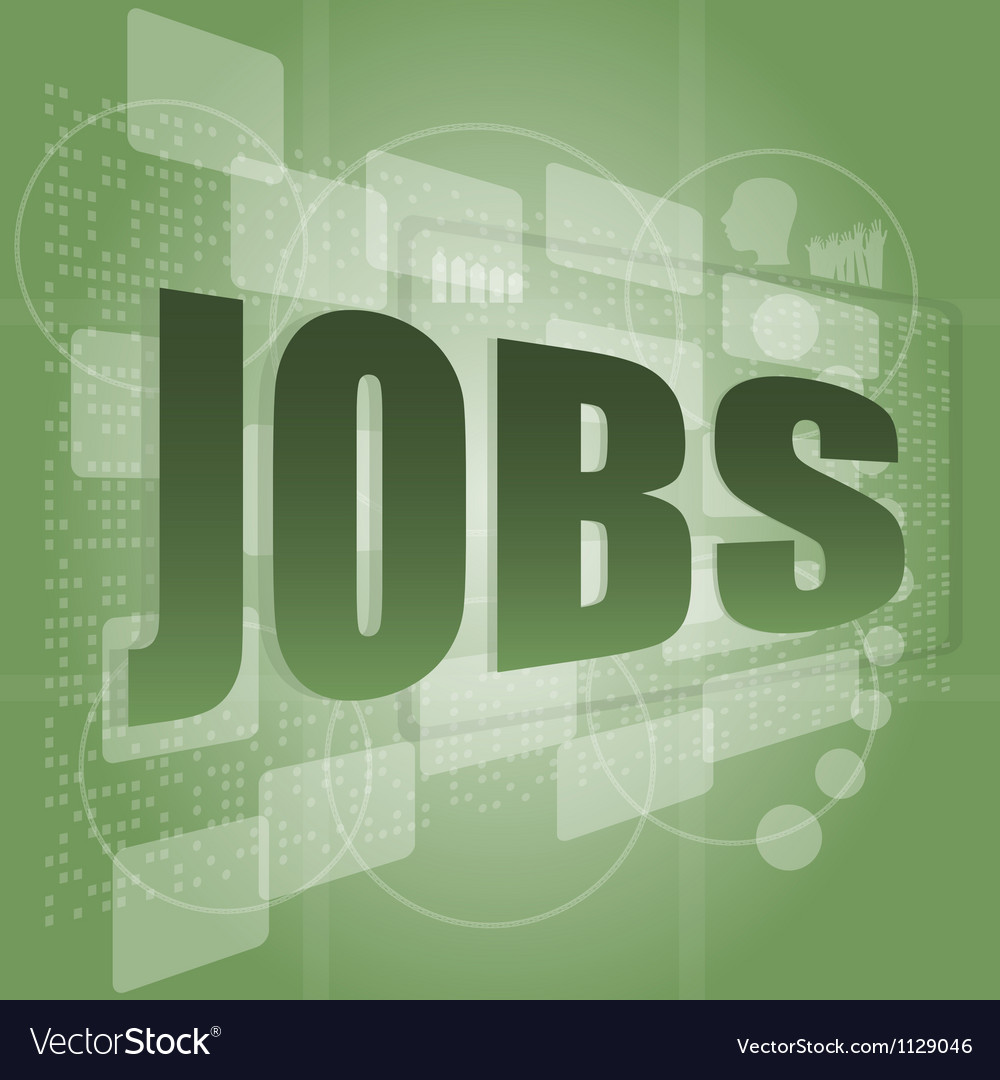 The word jobs on digital screen social concept vector | Price: 1 Credit (USD $1)