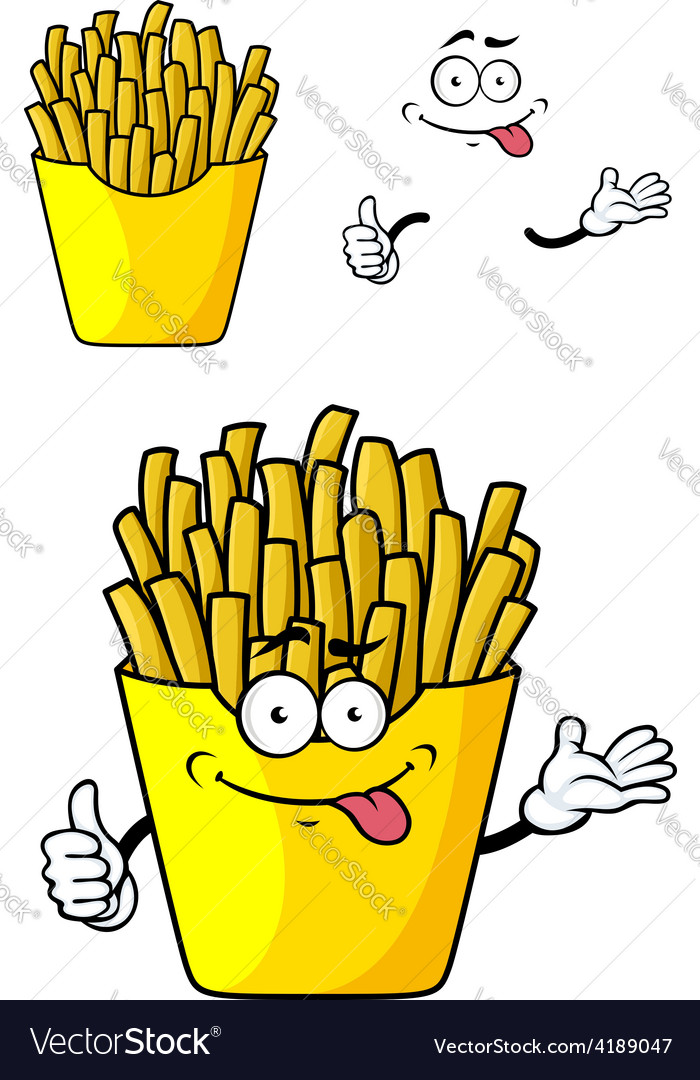 Cartoon french fries with hands and face vector | Price: 1 Credit (USD $1)