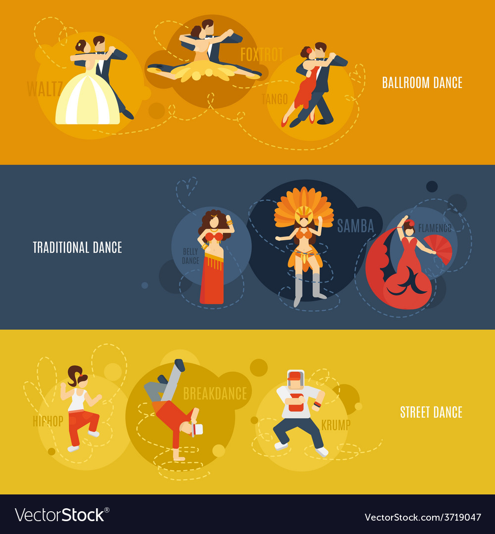 Dance banner set vector | Price: 1 Credit (USD $1)