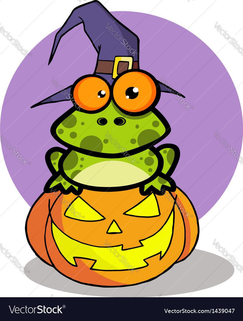 Frog with a witch hat in pumpkin vector | Price: 1 Credit (USD $1)