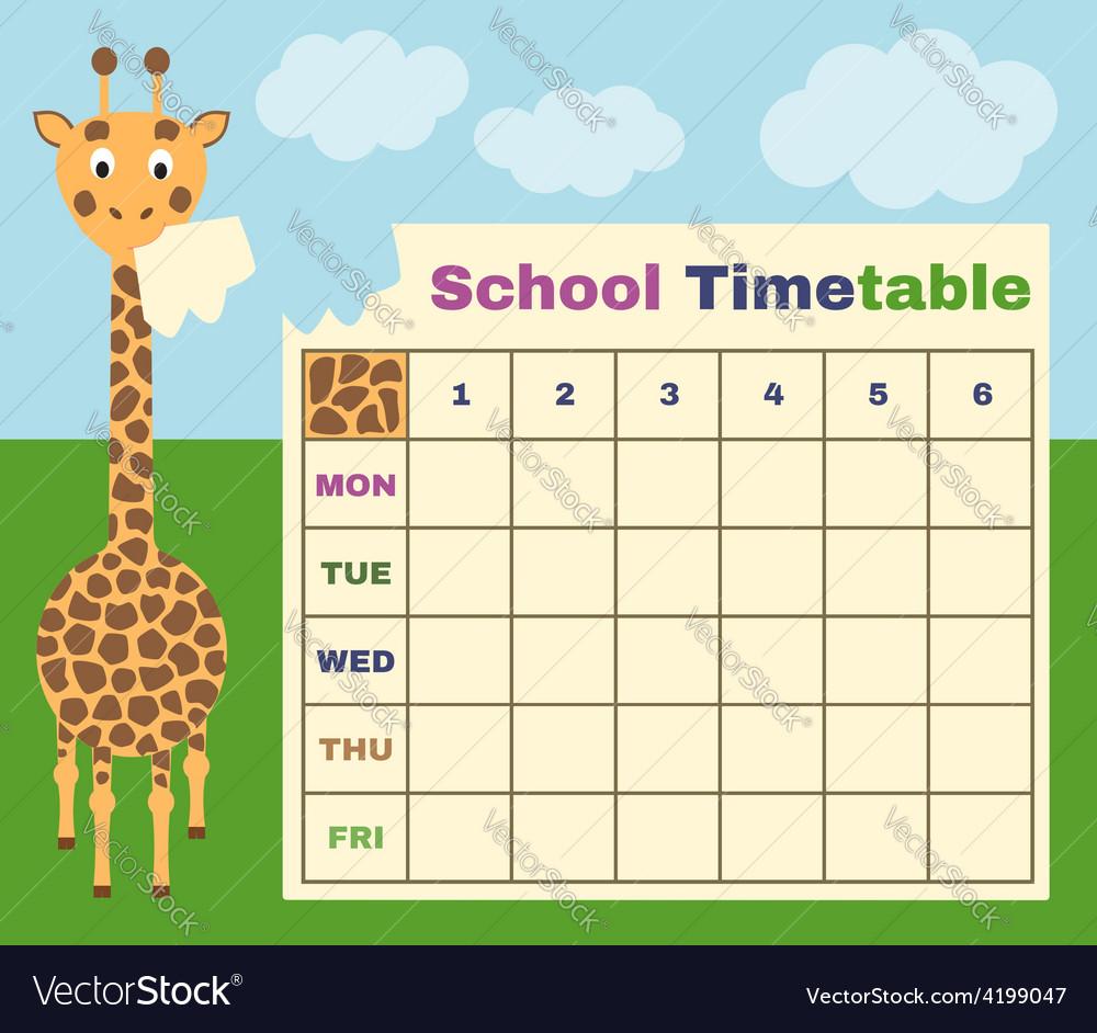 Giraffe timetable vector | Price: 1 Credit (USD $1)