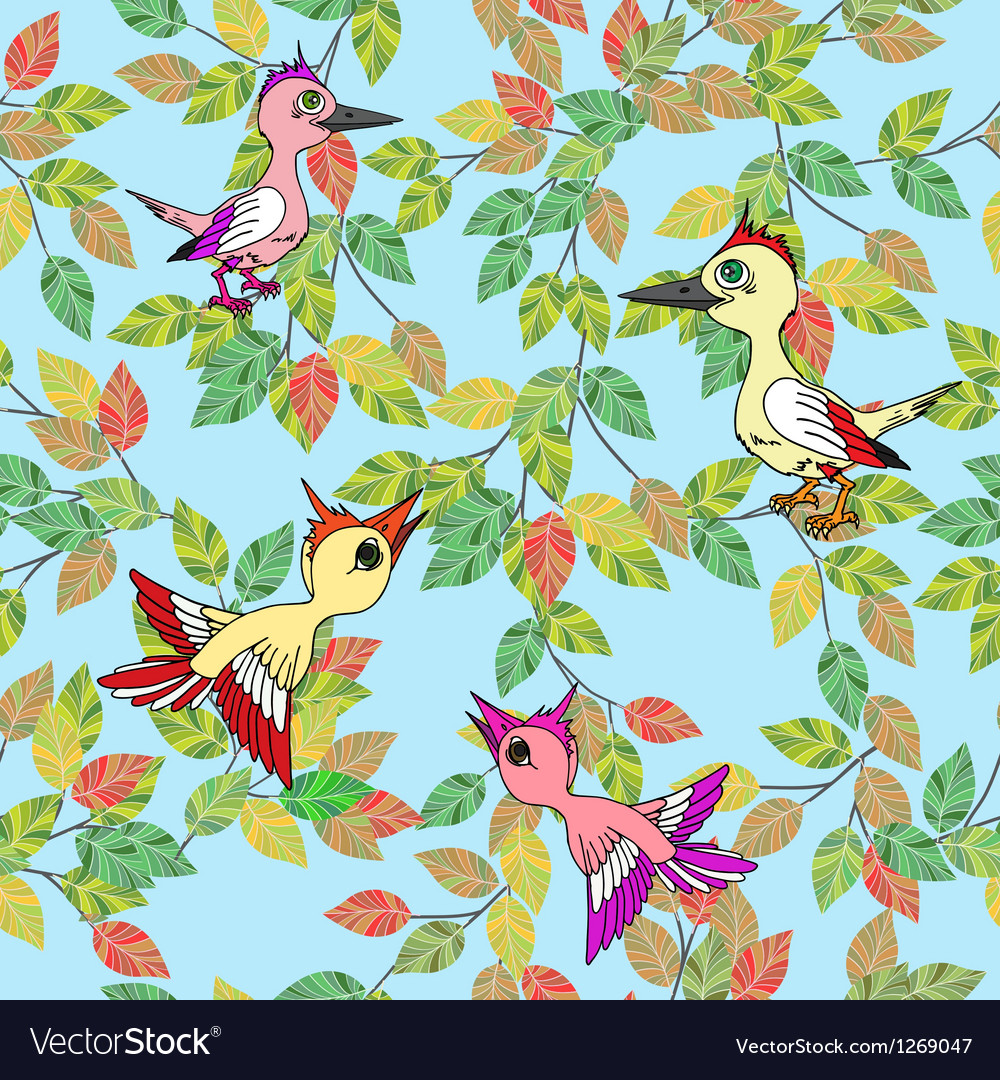 Little birds sing songs seamless texture vector | Price: 1 Credit (USD $1)
