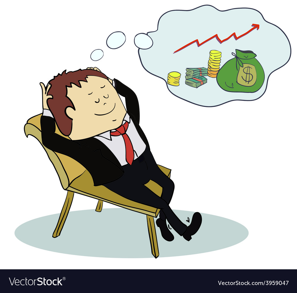 Man dream about money concept cartoon vector | Price: 1 Credit (USD $1)
