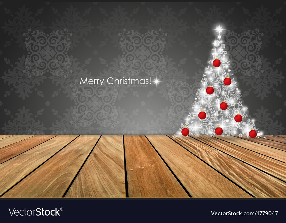 Merry christmas greeting card with christmas tree vector | Price: 1 Credit (USD $1)