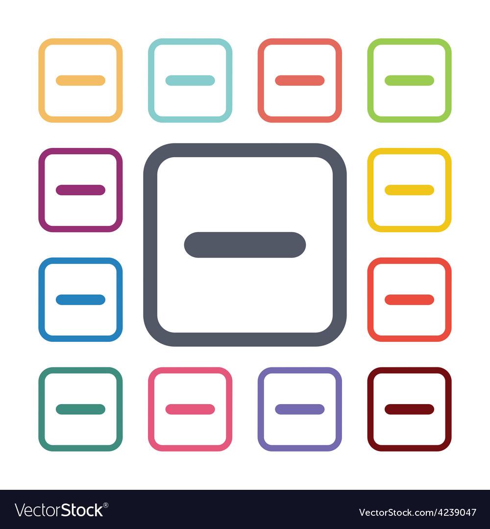 Minus flat icons set vector | Price: 1 Credit (USD $1)