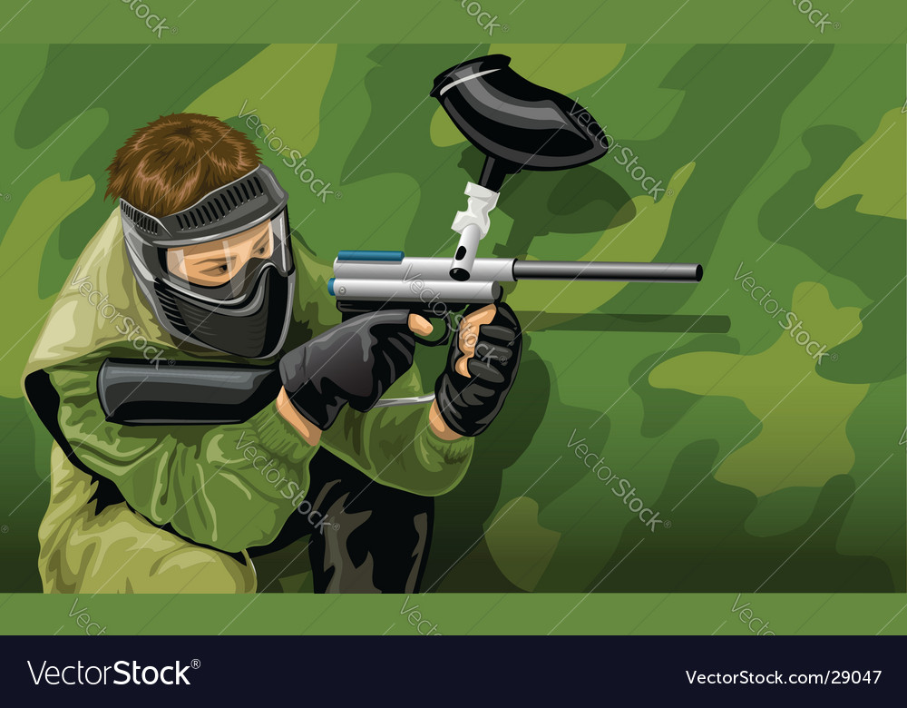 Paintball game player shooting vector | Price: 5 Credit (USD $5)