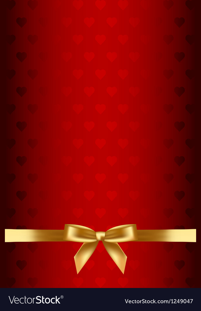 Red background with hearts and gold bow vector | Price: 1 Credit (USD $1)