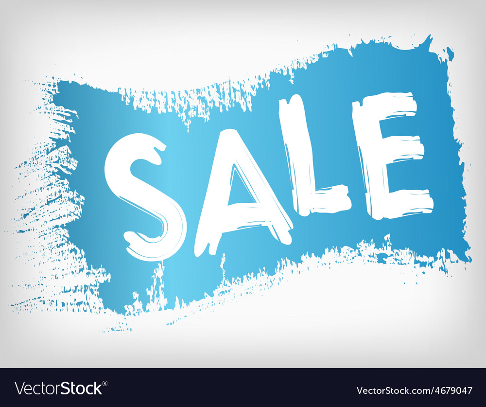 Sale promotion on blue painted grunge brush stain vector | Price: 1 Credit (USD $1)