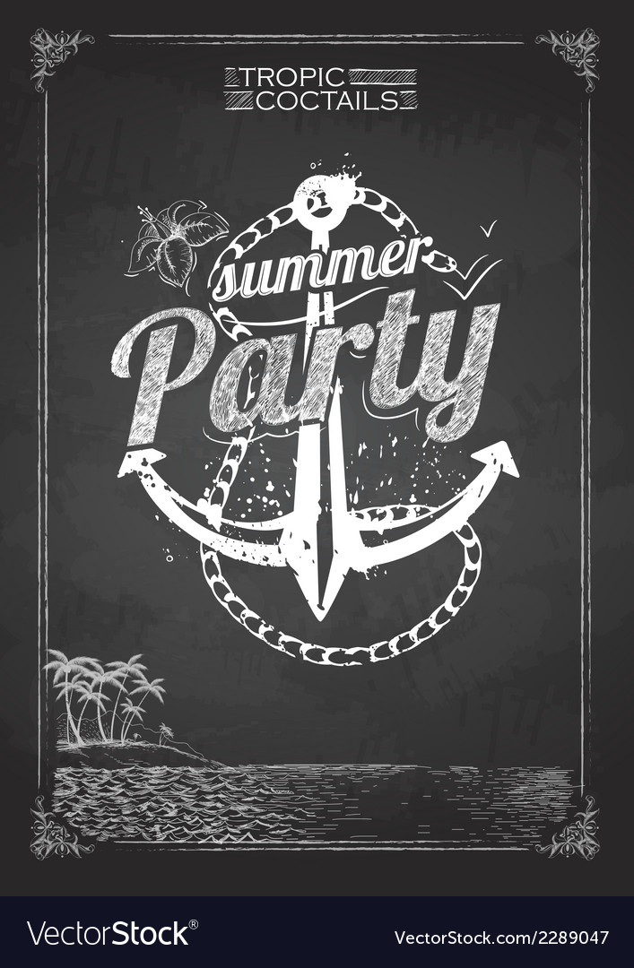 Summer party poster vector | Price: 1 Credit (USD $1)