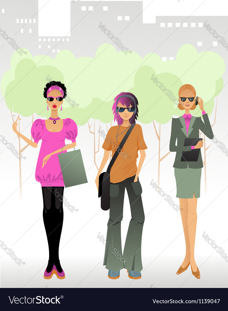 Three women in a big city vector | Price: 1 Credit (USD $1)