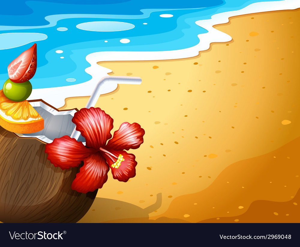 A beach and a refreshing drink vector | Price: 1 Credit (USD $1)