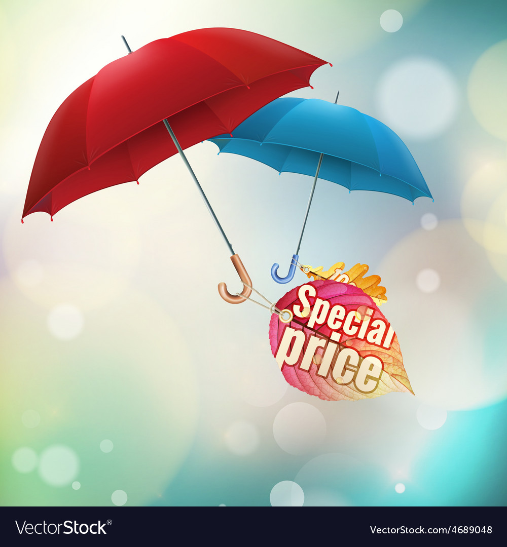 Autumn sale labels with umbrellas eps 10 vector | Price: 3 Credit (USD $3)