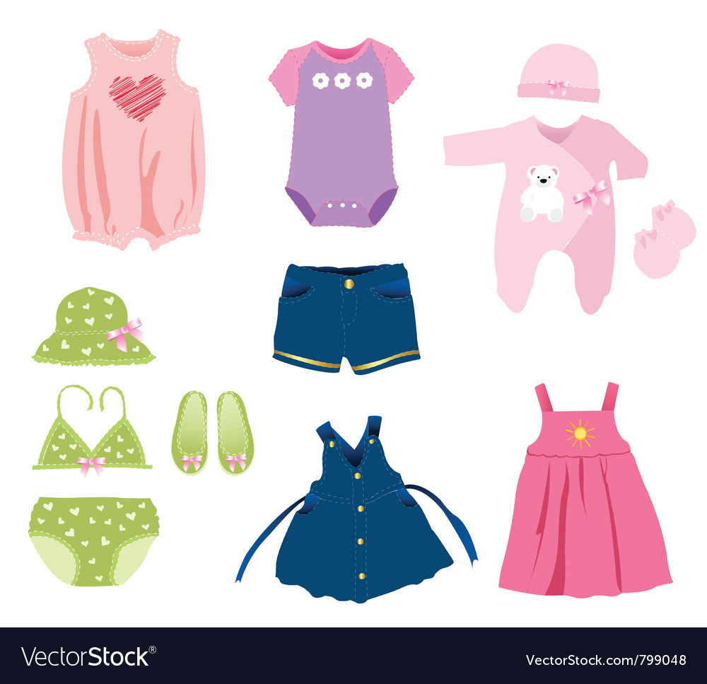 Baby girl elements clothes vector | Price: 1 Credit (USD $1)