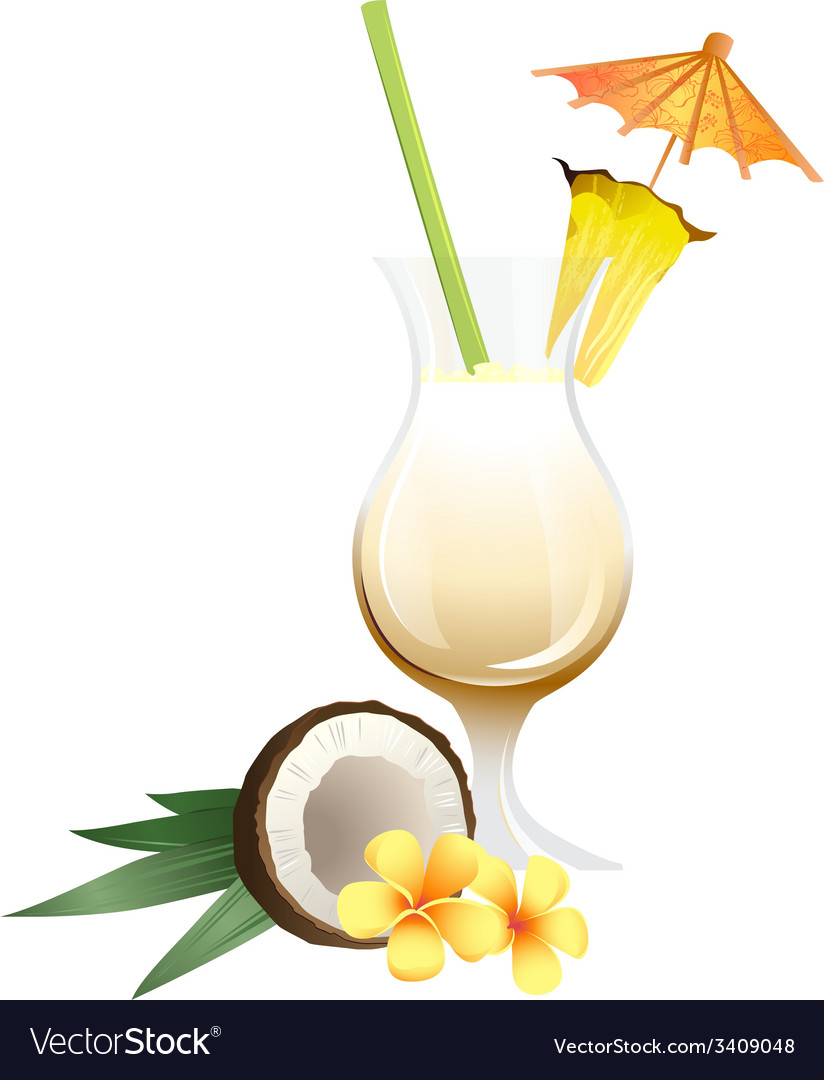 Cocktail pina colada with garnish vector | Price: 1 Credit (USD $1)