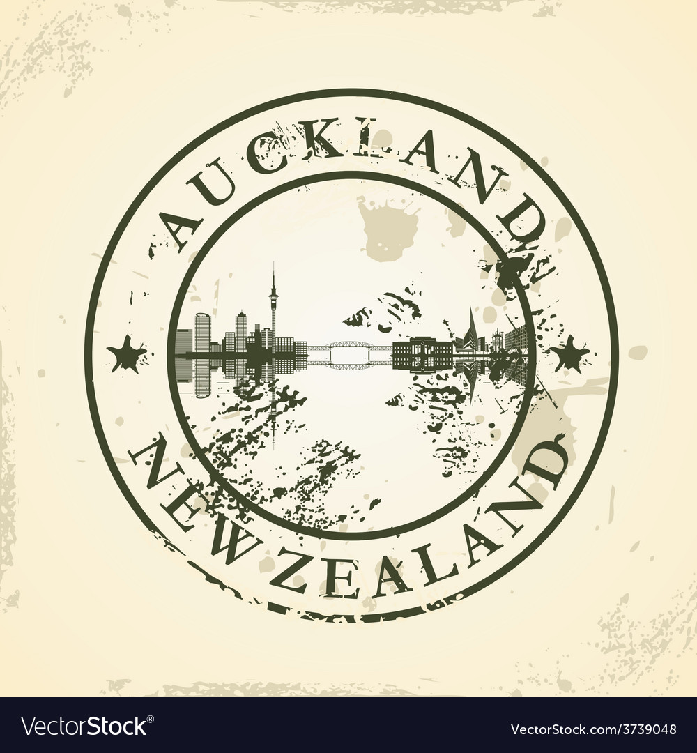Grunge rubber stamp with auckland new zealand vector | Price: 1 Credit (USD $1)