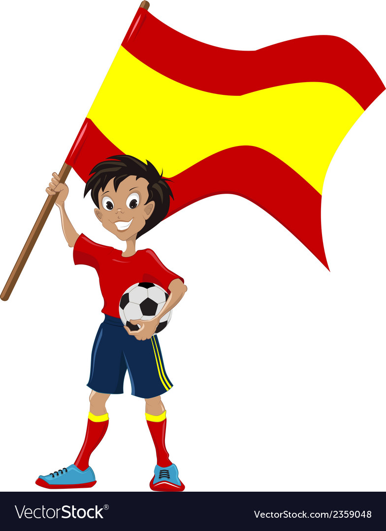 Happy soccer fan holds spanish flag vector | Price: 1 Credit (USD $1)