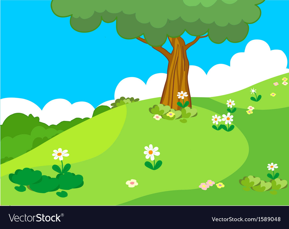 Hill with tree lanscape vector | Price: 1 Credit (USD $1)