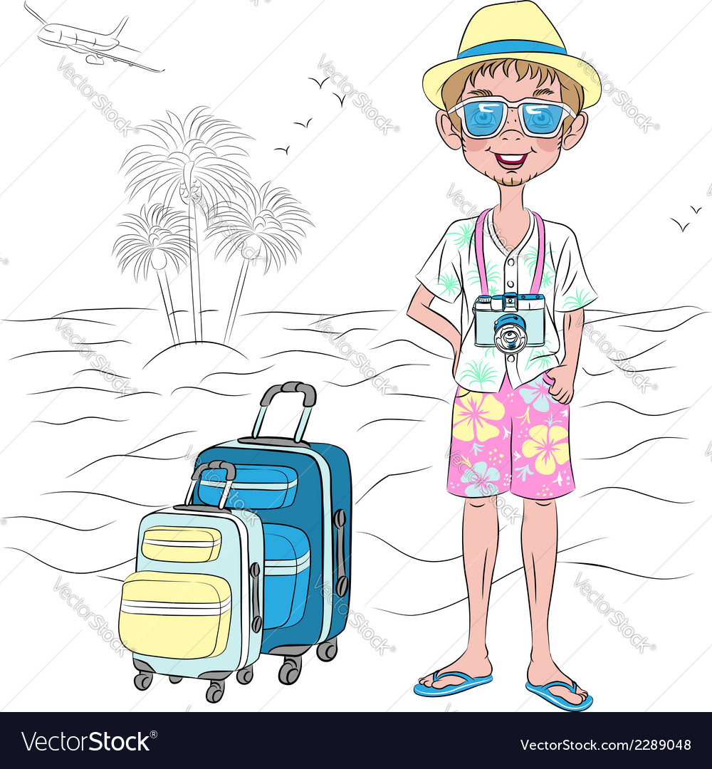 Hipster traveler guy with suitcases on the sea bea vector | Price: 1 Credit (USD $1)