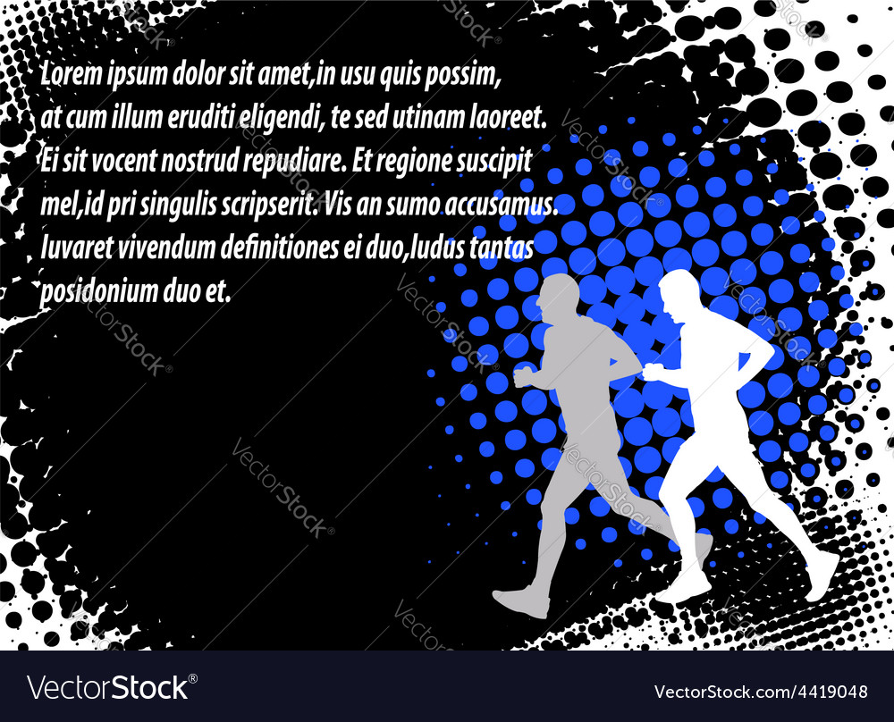 Runners halftone background vector | Price: 1 Credit (USD $1)